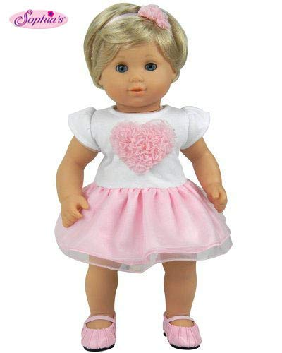 Sophias 15 Inch Baby Doll Clothes 2 Pc. Set, Detailed Pink Heart Top, Tutu Skirt & Headband Fits American Girl 15 Bitty Baby Dolls & More! Heart Dress & Headband|Plus Gift Bag |Doll Not Included