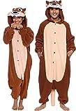 Silver Lilly Unisex Adult Pajamas - Plush One Piece Cosplay Chipmunk Animal Costume (Brown, Large)