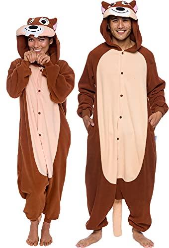 Silver Lilly Unisex Adult Pajamas – Plush One Piece Cosplay Chipmunk Animal Costume (Brown, X-Large)