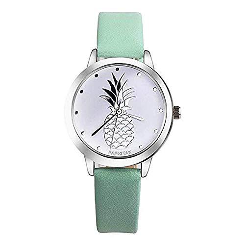 ¡Promoción Últimas Mujeres Relojes de Cuarzo piña Relojes para Mujer Relojes de Cuero Reloj de Mujer (Verde)