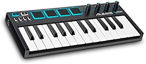 Alesis VMini   Portable 25-Key USB MIDI Keyboard Controller with 4 Backlit Sensitive Pads, 4 Assignable Encoders and Professional Software Suite with ProTools   First Included, MultiColored (V Mini)