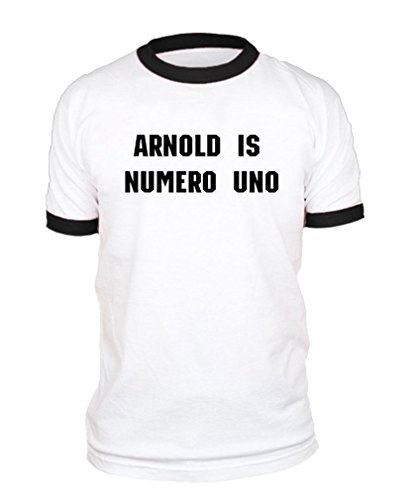 Arnold is Numero UNO - Weightlifting Champ - Cotton Black Ringer TEE, L