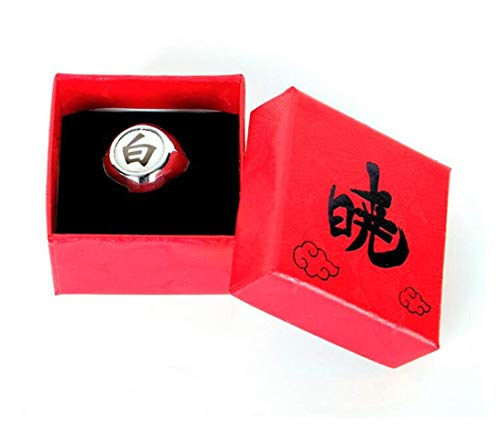 Japansai Anime Naruto Sharingans Akatsuki Uchiha Itachi anillo para Cosplay caja roja embalado (Blanco (Konan))