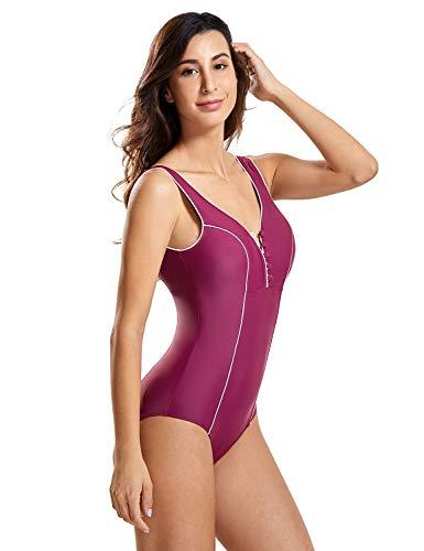 DELIMIRA Women's Deep-V Slimming Bathing Suit Monokini Swimwear One Piece Swimsuit Fuchsia 8-10