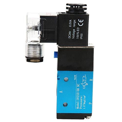 KANJJ-YU Electroválvula eléctrica, válvula solenoide de 2 posiciones de 5 vías PT1/4 '1.2MPa 170Psi controlador de fluidos para sistema neumático IP65 3V210-08 (DC24V)