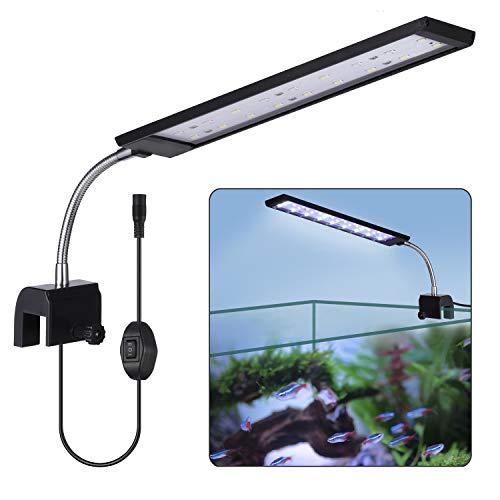 KWOKWEI Luce LED per acquario, lampada a clip con luce bianca e blu, 10 W, con supporto regolabile, 27 LED, illuminazione per acquario e cisterne.