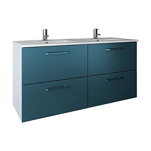 Randalsa Mueble de baño Moderno Doble Easy | Ancho 120 cm | 120 x 60 x 45 cm Azul | Mueble Doble + Lavabo cerámica de Doble Seno