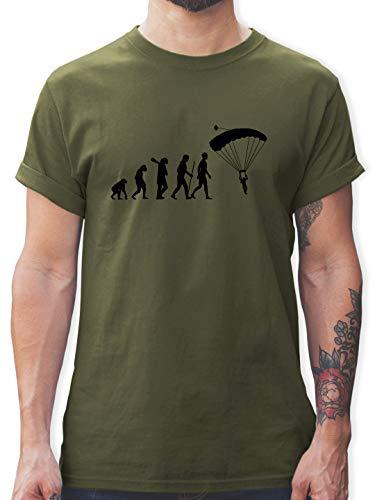 Evolution - Fallschirmspringen Evolution - M - Army Grün - Fallschirmspringer Shirt - L190 - Tshirt Herren und Männer T-Shirts