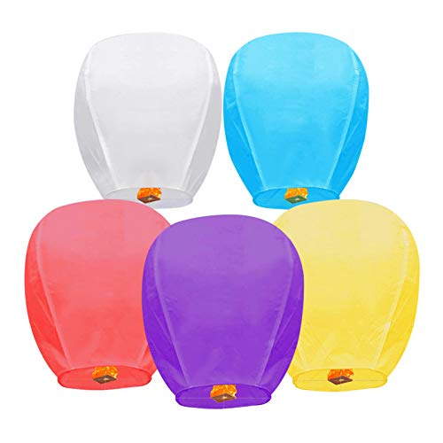 5 Pack Multicolor Sky Lanterns, Chinese...
