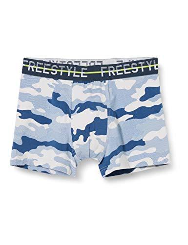 Sanetta Jungen Hipshorts Jumbo Sportive Shorts im blauen Camouflage-Look, grau, 152