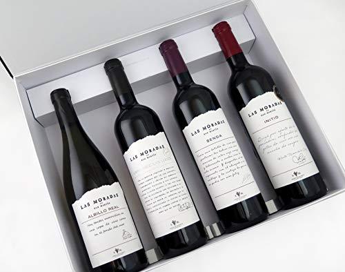 Las Moradas - Estuche de 4 Vinos Selección Gourmet - Albillo Real 2019, Senda 2017, Initio 2013, Las Luces 2010 - Vino Tinto - 4 botellas de 75cl - Estuche para Regalo - Vinos de Madrid