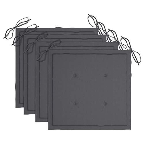 Tidyard Set 4 pz Cuscini per Sedie da Giardino in Tessuto Antracite 50x50x4 cm,Cuscini Quadrati,Cuscini per Sedie da Esterno,Cuscini per Mobili da Giardino 50x50x4 cm