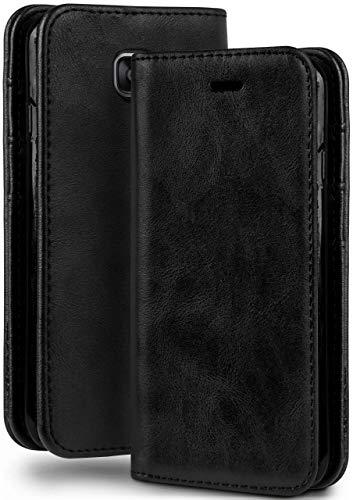 moex Booklet in Lederoptik - Kartenfächer und Aufstellfunktion passgenau für Samsung Galaxy A3 (2016) | Eleganter 360 Grad Vollschutz, Schwarz