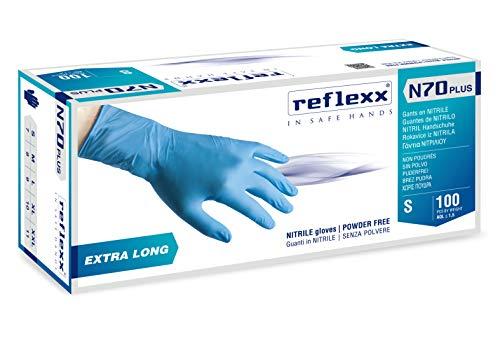 REFLEXX n70p/S Extra lang, 29 cm, poedervrij nitril handschoenen, Small, lichtblauw, 100
