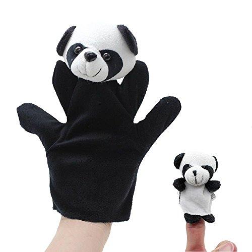 VANKER 2Pcs Cartoon Biologique Jouet Marionnette de Doigt Peluche Modèle Panda Grand + Petit