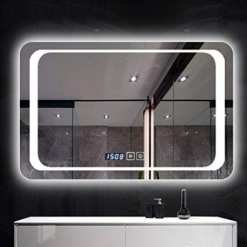 Espejo de pared con luces para el hogar, espejo de pared para baño, panel de cristal contemporáneo, rectangular, esquinas redondeadas, diseño horizontal (color: luz blanca, tamaño: 60)