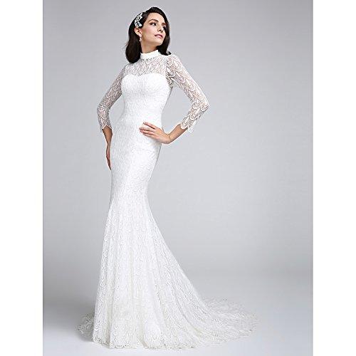 kekafu Mermaid/Trompete Illusion Ausschnitt Hofschleppe Spitze Hochzeit Kleid mit Spitze LAN TING Braut, Elfenbein, US6/UK 10 / EU 36