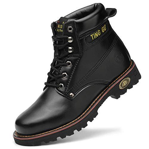 Otoño Invierno Hombres Mujeres Botas de Trabajo Zapatos de Seguridad en el Trabajo Protección Anti-perforación Zapatos de Seguridad con Punta de Acero Hombres-B215 Negro_37