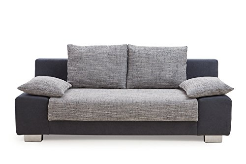 Collection AB Max Schlafsofa, Stoff, Schwarz/Grau, 98 x 201 x 85 cm