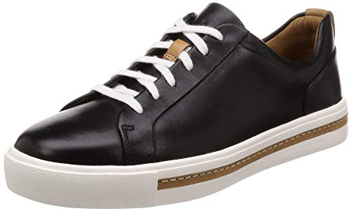 Clarks Damen Un Maui Lace Sneaker, Schwarz (Black Leather), 38 EU