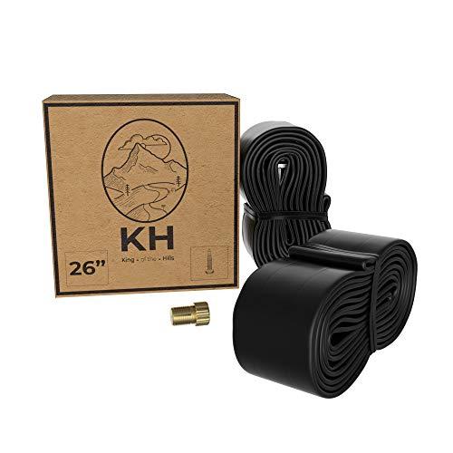 King of the Hills | Pack 2 Cámaras de Aire para Bicicletas de 26 Pulgadas con Válvula Presta + Adaptador de Válvula Fina