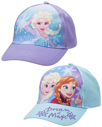 Disney Girls' Frozen Baseball Caps - 2 Pack Elsa and Anna Glitter Hat with Faux Ponytail Set (Ages 4-7), Size Age 4-7, Elsa/Anna Ponytail Cap, Size Age 2-4, Frozen Dream 2 Pack