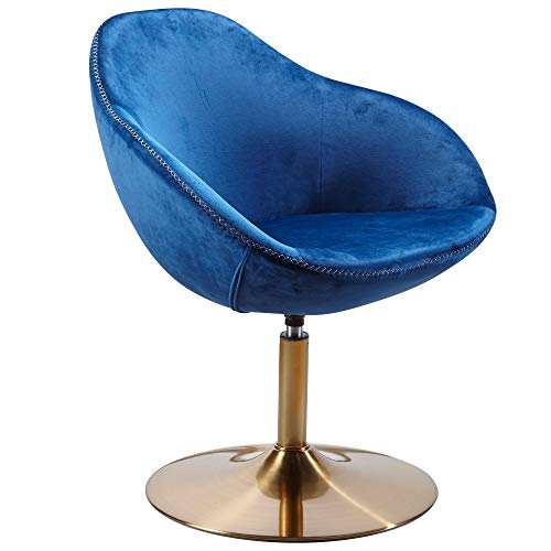 FineBuy Loungesessel SIRAN 70 x 79 x 70 cm Design Drehstuhl Blau | Clubsessel Polsterstuhl mit Armlehne | Drehsessel Cocktailsessel Lounge | Barsessel Besucherstuhl | Sessel mit Stoffbezug