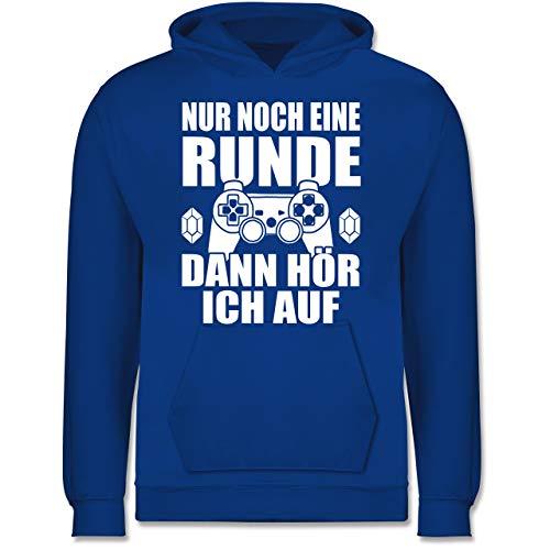 Shirtracer Sprüche Kind - Nur noch eine Runde - 140 (9/11 Jahre) - Royalblau - Hoodie Spruch - JH001K - Kinder Hoodie