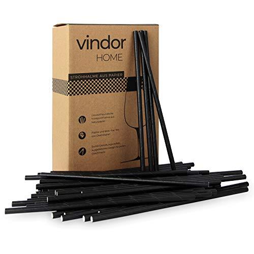 Vindor Papier Strohhalme - 200 Stück - Papierstohhalm Papier Trinkhalme umweltfreundlich, plastikfrei – schwarz