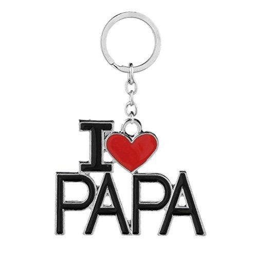 LUOEM J'AIME PAPA Lettres Porte-clés Anneau Bijoux Métal Porte-clés pour Fête des Pères Cadeau D'anniversaire