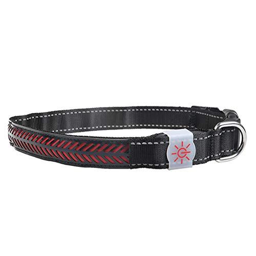Cuello ajustable, cuello para mascotas, collares brillantes de noche hacen que la mascota sea más visible, (rojo, código L)