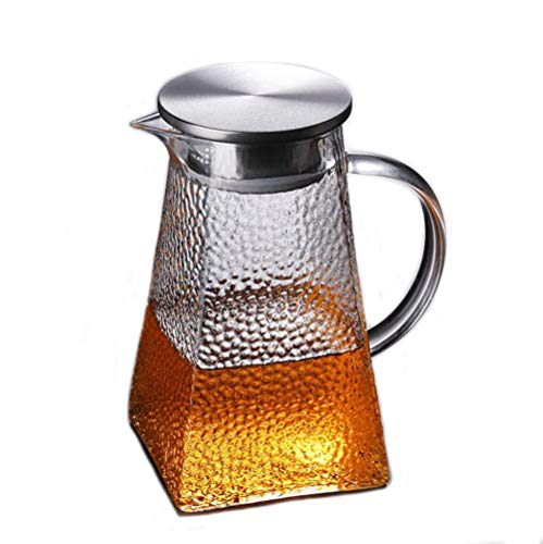 YUEMING Caraffa Vetro, Brocca di Vetro Bollitore di Vetro Freddo, bollitore di Vetro, brocca, bollitore, tè Freddo e bollitore per Bevande al Succo 1300ml (2#)