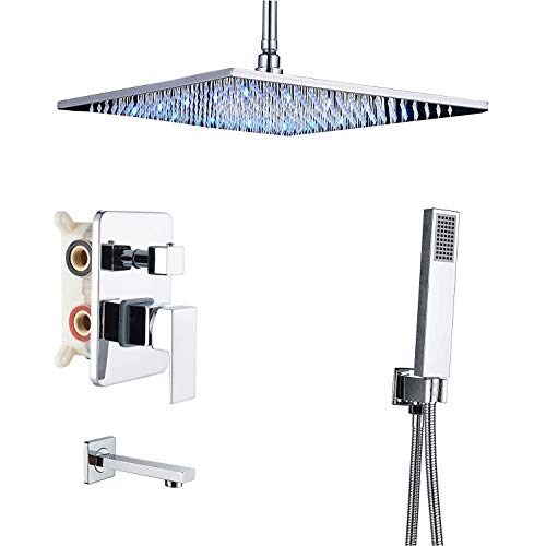 Rozin Bath 3-way Shower Diverter Kit Ceiling Mounted LED Light 16-inch Rainfall Showerhead Tub Tap with Hand Spray Chrome Finish
