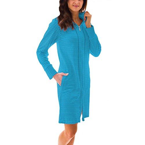 Aquarti Damen Bademantel mit Reißverschluss Streifenmuster, Farbe: Streifenmuster Türkis, Größe: S