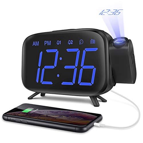 Despertador Digital Proyector Despertador Alarma Dual Despertador Reloj de Proyección Pantalla LCD Azul y 7 Tonos Función Volumen Ajustable Alimentación USB