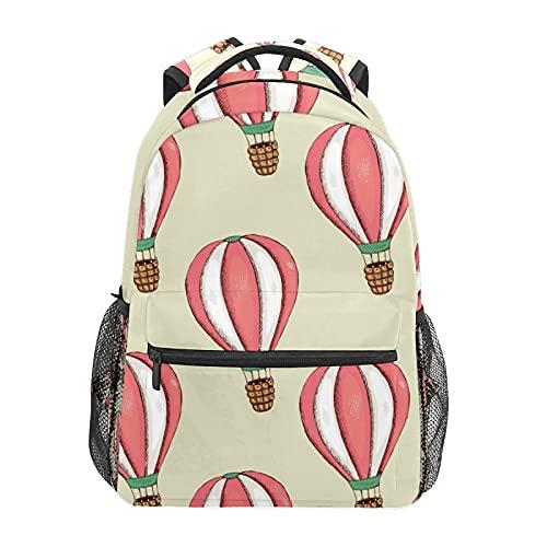 Rosa Bianco Palloncino Daypack Zaino Scuola College Viaggi Escursioni Moda Laptop Zaino per Donne Uomini Teen Casual Borse di Tela