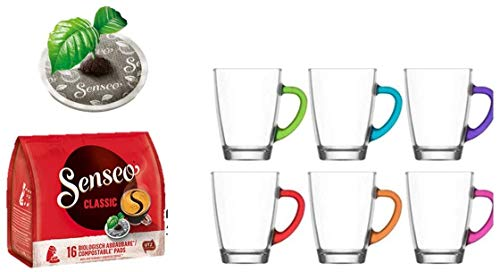 Senseo Kaffeepads Classic für Senseo und weitere Kaffeemaschinen Aktion+ 6 Kaffeebecher mit Henkel