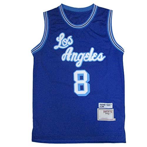 Basketball Jersey #8 Kobe Lakers, Men's Sports Shirts Vintage Basketball Swingman Jersey Sportswear 100% Polyester Breathable Mesh Fabric-S
