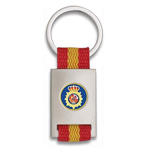 Tiendas LGP Albainox- Llavero Bandera de ESPAÑA y Chapa Escudo Policia Nacional CNP, Plateado
