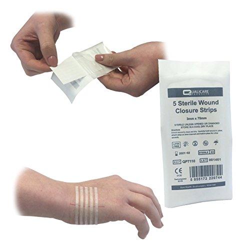 Qualicare Lot de 25 bandes (5 paquets) adhésives hypoallergéniques et stériles, 3 x 75 mm, pour sutures et traitement des plaies