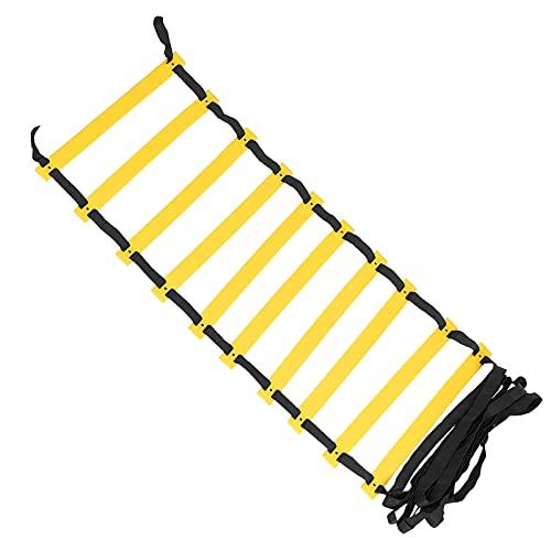 Wosune Escalera de Agilidad, Material de Polipropileno Escalera de Velocidad Escaleras Ligero Cinturón Trenzado de Alta Densidad para Exteriores para Ejercicio(Black Rope)