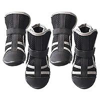 WASAIO 夏のアンチ犬Ruffwear堅木の床フットパッドハイキング足を実行するための通気性であっても靴足をスリップ犬ブーツのブーツの靴 (色 : 黒, サイズ : S)