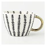 Tazas de café creativas geométricas de cerámica con mango de oro, tazas de café hechas a mano con forma irregular taza de leche de té taza regalo único decoración del hogar (color: 3)