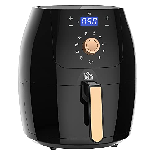 HOMCOM Air Fryer 1700W 5.5L Toaster Oven with Digital Display Rapid Air Circulation System Adjustable Temperature 60 Min Timer for Healthy Oil Free Low Fat Cooking Nonstick Basket