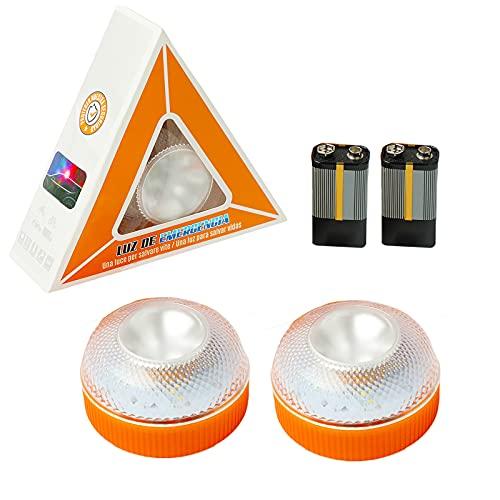 Luz de Emergencia, Señal V16 de Preseñalización de Peligro Homologada Luz de Avería Emergencia Magnética Led Luz Emergencia para Coches y Motocicletas (Con batería 2 pcs, Orange)