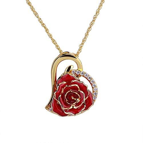 Collana con ciondolo a forma di cuore in strass placcato oro 24 K con scatola regalo per donna (rosso)