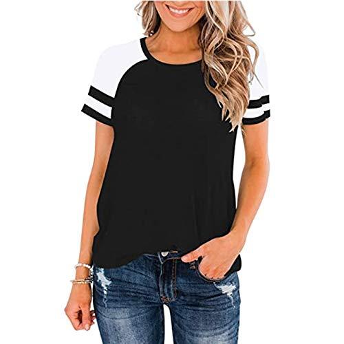 Kurzarm Sweatshirt für Damen Basic Lässige Sexy Oberteil Sommer Tops Einfarbige Gestreifte Lose Spitze Slim T-Shirt Rundhals Shirt Mode All-Match Solid Elegant Swing Tee