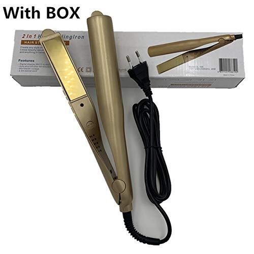 CONSTELLATION Multifonction LCD Automatique bigoudi Fer à friser Professionnel Air Wand Outils de Cheveux Tourmaline Ceramic Heater Waver Curl (Color : Gold with Box, Plug Standard : US)