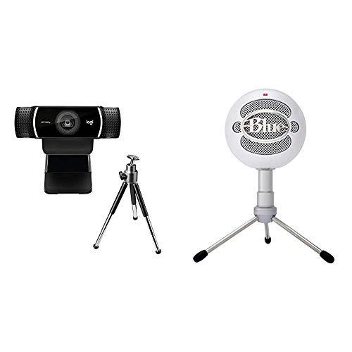 Logitech C922 Pro Stream Webcam, streaming en Full HD 1080p con trípode y licencia gratuita de 3 meses para XSplit - Negro + Blue Microphones Snowball Ice - Micrófono condensador, conexión USB
