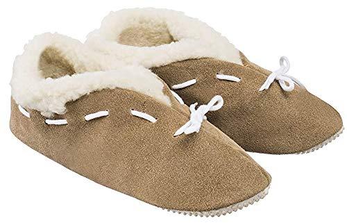 Estro Herren Damen Hausschuhe Reine Wollhausschuhe - Hüttenschuhe Stiefel Warm Winter Wolle Warme Winterhausschuhe Schafswolle Mit Fell Schafwolle b01 (Beige, Numeric_44)
